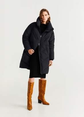 MANGO Side-zip quilted coat