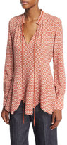Derek Lam Long-Sleeve Scalloped-Hem Blouse, Pomegranate/Multi