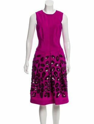 Oscar de la Renta Sleeveless A-Line Dress Purple