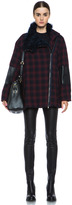 3.1 Phillip Lim Asymmetric Jacket with Detachable Shearling Collar in Navy Multi