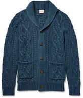 Faherty Shawl-Collar Indigo-Dyed Cable-Knit Cotton Cardigan