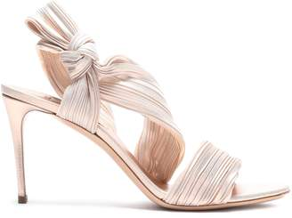 Casadei Knotted Metallic Silk-crepe Sandals
