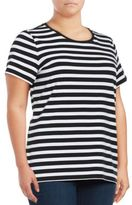 Lord & Taylor Roundneck Short Sleeve Striped Tee