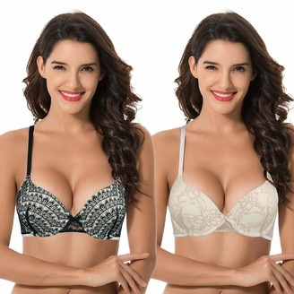 Curve Muse Women Plus Size Push Up Add 1 Cup Underwire Perfect Shape Lace Bras - beige - 34E