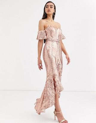 Bariano bardot midi sequin dress with dip hem in rose gold