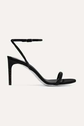 Rene Caovilla Crystal-embellished Satin Sandals - Black