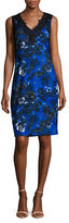 T Tahari Embroidered Lace Sheath Dress