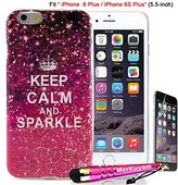Fit [iPhone 6S Plus / iPhone 6 Plus], MerKuyom® - (5.5-inch) [6/6S Plus] Case Protector, [Pink KEEP CALM AND SPARKLE] [Flexible Gel] Soft TPU Skin Cover For iPhone 6S Plus, iPhone 6Plus, + Stylus