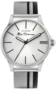 Ben Sherman Men's Black Silver-Tone Stainless Steel Classic Three Hand Watch, 41mm