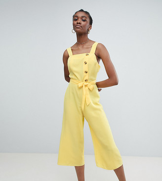 New Look Button Through Jumpsuit-Yellow