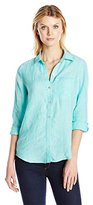 Foxcroft Women's Long Sleeve Chambray Linen Roll Tab Button Front Blouse