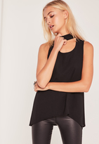 Missguided Tie Neck Longline Tank Top Black