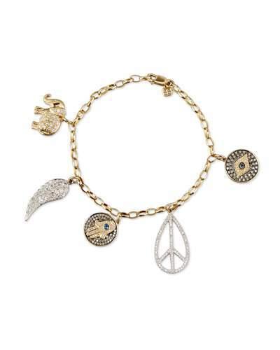 Sydney Evan 14K Gold Multi Charm Bracelet with Diamonds & Sapphires