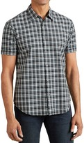 John Varvatos Plaid Short Sleeve Slim Fit Button-Down Shirt
