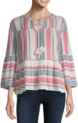 A.N.A Womens Split Crew Neck Long Sleeve Blouse
