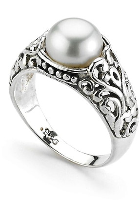 Samuel B. Sterling Silver Balinese Design Round 7.5-8mm Freshwater Pearl Ring