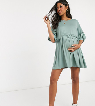Missguided Maternity frill sleeve smock dress in green