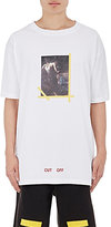 Off-White Men's Cotton Painting-Graphic T-Shirt-WHITE