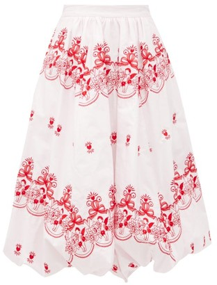 Simone Rocha Cherub-embroidered Cotton Bubble-hem Skirt - Pink Print