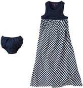 Burt's Bees Baby Striped Maxi Dress & Diaper Cover (Baby)-Midnight-6-9 Months