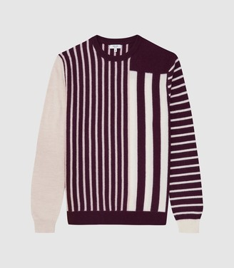 Reiss Andy - Striped Crew Neck Jumper in Bordeaux