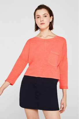 Esprit Womens Pink Jersey Cotton T-Shirt With Long Sleeves - Pink