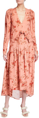 Mother of Pearl Puff-Sleeve Floral V-Neck Dress