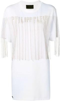 Philipp Plein beaded logo T-shirt dress