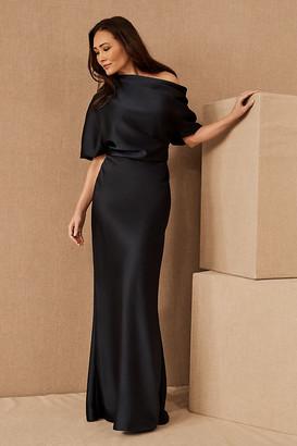 Amsale Pryce Off-the-Shoulder Column Dress By in Blue Size 4