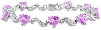 """Online Tangelo 8-4/5 Carat T.G.W. Created Pink Sapphire and Diamond-Accent Sterling Silver Heart Bracelet, 7"""""""