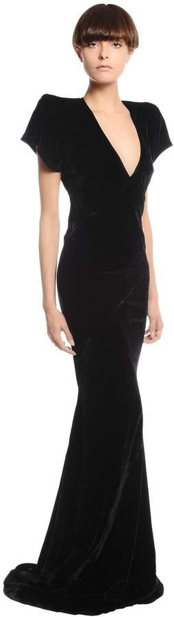Gareth Pugh V Neck Velvet Dress