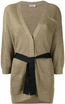 Brunello Cucinelli tied waist cardigan - women - Cotton/Linen/Flax/Polyester/Cupro - S