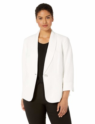 Kasper Women's 1 Button Shawl Collar Linen Jacket