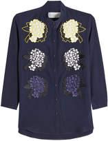 Victoria Victoria Beckham Silk Blouse with Flower Appliqué