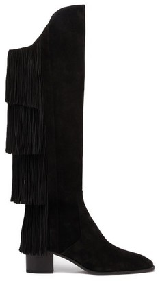 Christian Louboutin Lion 55 Fringed Suede Knee-high Boots - Black