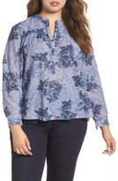 Lucky Brand Plus Size Women's Floral Chambray Shirt