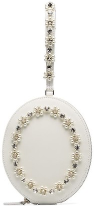 Simone Rocha Pearl-Embellished Leather Clutch