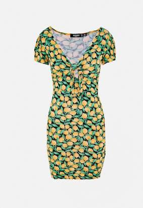 Missguided Petite Black Lemon Print Tie Front Mini Dress