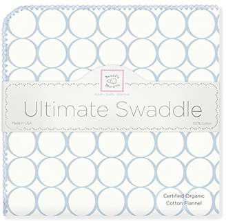 Swaddle Designs Organic Ultimate Winter Swaddle, X-Large Receiving Blanket, Made in USA, Premium Cotton Flannel, Kiwi Mod Circles (Mom's Choice Award Winner)