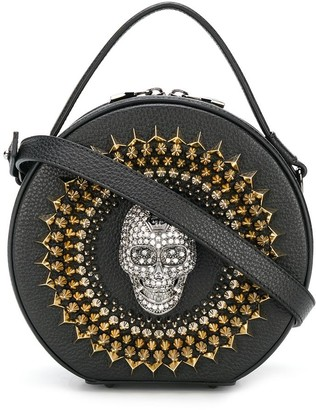 Philipp Plein Crystal-Skull Top-Handle Circle Bag