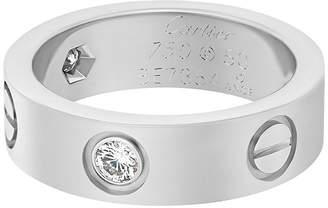 Cartier 18k White Gold 3-Diamond Love Ring, Size 5.25