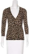 Tory Burch Leopard Print Merino Wool Cardigan