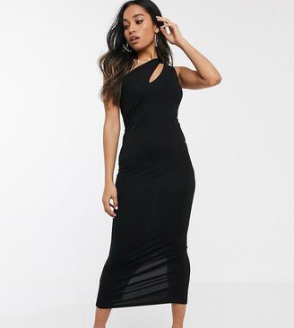 Asos DESIGN Petite going out slash front maxi dress-Black