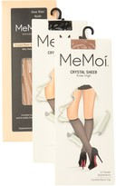 Me Moi Memoi Crystal Sheer Knee Highs - Pack of 3
