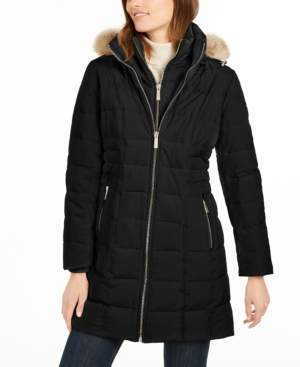 Michael Kors Michael Petite Faux-Fur Trim Hooded Down Coat, Created For Macy's