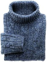 Charles Tyrwhitt Blue Mouline Roll Neck Wool Sweater Size Large