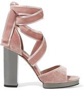 Valentino Velvet Sandals - Pastel pink