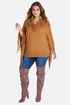 Fashion to Figure Liloh Cowl Fringe Poncho