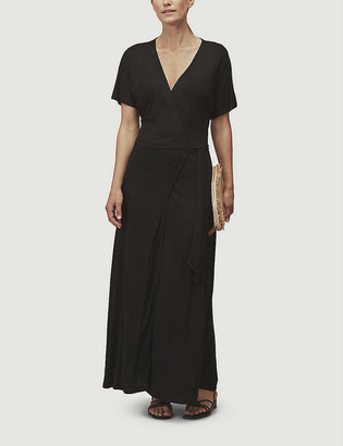 Whistles V-neck stretch-jersey wrap midi dress