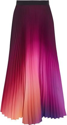 Mary Katrantzou Uni Pleated Degrade Houndstooth Twill Midi Skirt